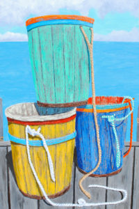 """Missed the Boat, a painting by Tom Alway, acrylic & mixed media on canvas 30"""" x 40"""""""