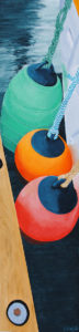 "Painting by Tom Alway, Three Buoys in a Tight Squeeze, 12"" x 48"" acrylic on canvas"