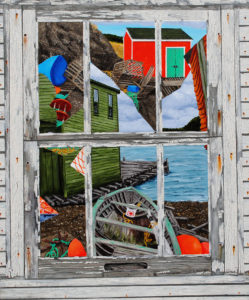 """Painting by Tom Alway, Sea Debrist: Reflections, acrylic on canvas 30"""" x 36"""""""