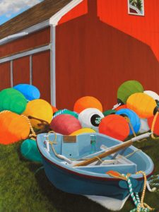 """Painting by Tom Alway, A Fisherman's Pumpkin Patch 36"""" x 48"""" acrylic on canvas"""