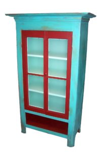 Double door glazed storage cupboard