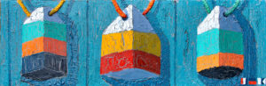 """Weathered Old Buoys Commisserating by Tom Alway , acrylic and mixed media on canvas 12' x 36"""" at the Maritime Painted Saltbox Fine Art Gallery in Petite Rivire, Nova Scotia"""