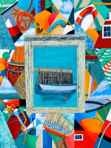 "Attic Memory & Crazy Quilts, Home Safe by Tom Alway, acrylic & mixed media  on canvas, 32""  x  42"" framed at the  Maritime Painted Saltbox  Fine Art Gallery in  Petite Riviere Nova Scotia"