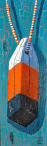 Abstracted Buoy Unmoored by Tom Alway, 12 x 36 framed, acrylic and mixed media on canvas at the Maritime Painted Saltbox Fine Art Gallery  in Petite Petite Riviere, Nova Scotia