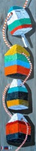 Bored Old Buoys Escaping a Boring Board Meeting by Tom Alway, acrylic and mixed media on plywood  12 x 48 at the Maritime Painted Saltbox Fine Art Gallery in Petite Riviere Nova Scotia